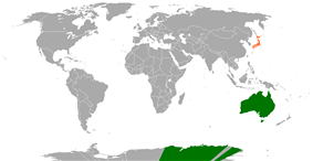 Map indicating locations of Australia and Japan