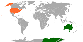 Map indicating locations of Australia and United States