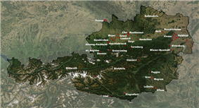 Satellite map of modern Austria, with location of some of the subcamps marked with red dots.