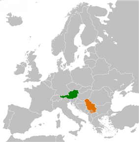 Map indicating locations of Austria and Serbia