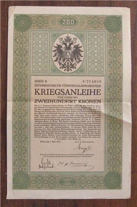 a 1915 Austrian war bond