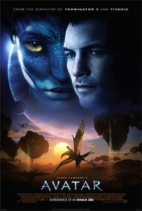 On the upper half of the poster are the faces of a man and a female blue alien with yellow eyes, with a giant planet and a moon in the background and the text at the top: