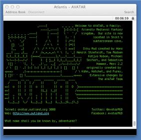 A screenshot of the login screen for AVATAR MUD.