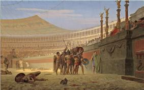 Somewhat stylized view from within a Roman arena; a group of around 7 gladiators are picked out by the sunlight saluting the Emperor, their weapons and shields held aloft. The stalls for the immense audience stretch into the distance and on the floor a small number of the dead from previous combats lay where they fell in the sand.
