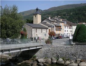 View towards the town and the Camp de Gramou bridge over the Ariège