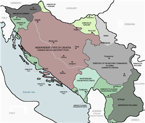 a coloured map showing the partition of Yugoslavia