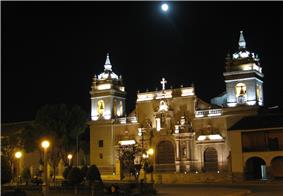 Ayacucho's cathedral by night