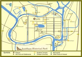 Plan of Ayutthaya historical park