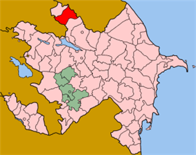 Map of Azerbaijan showing Zaqatala rayon
