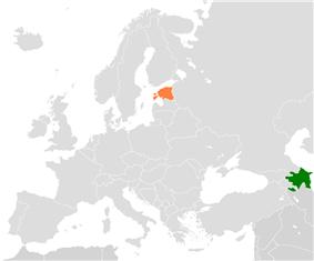Map indicating locations of Azerbaijan and Estonia