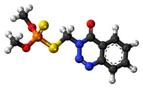 Ball-and-stick model of the azinphos-methyl molecule