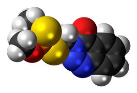 Space-filling model of the azinphos-methyl molecule