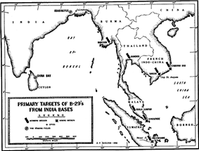 A black and white map of eastern India, Sri Lanka and Southeast Asia Most of the cities depicted on the map are marked with bomb symbols.