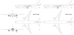 Comparison chart showing front, side, and top views of the 777.