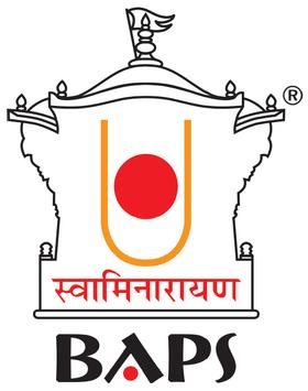 BAPS Logo with the symbol of Akshar Deri