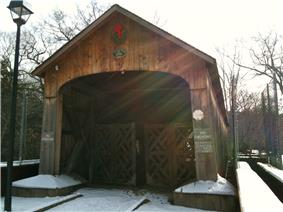 Comstock Covered Bridge from state forest parking lot side
