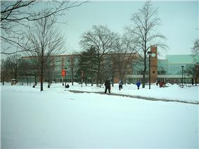 Fresh snowfall on the BGSU campus.