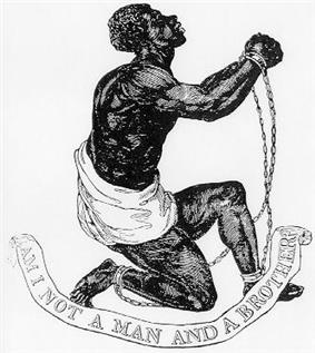 Drawing which shows a slave kneeling and holding up his clasped and manacled hands. Underneath him, a banner says