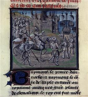 A miniature painting from a medieval manuscript. A man on horseback, followed by men on foot, rides past a burning castle. The castle is on a shore, and there are ships in the water. There is text above and below the painting.
