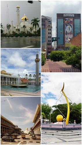 From top left: Sultan Omar Ali Saifuddin Mosque, Sir Muda Omar Ali Saifuddin Park, Lapau Diraja, Mercu Dirgahayu and Downtown Bandar Seri Begawan.