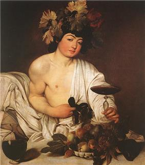 Painting of Dionysus with garland, food and wine