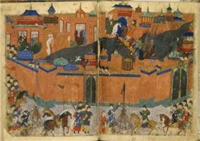 Colorful medieval depiction of a siege, showing the city of Baghdad surrounded by walls, and the Mongol army outside