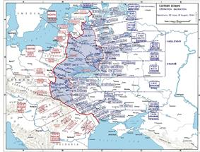 A map of Eastern Europe depicting the movement of military units and formations.