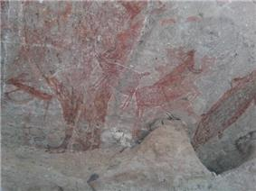 Prehistoric rock art pictographs of the Cochimi in the Sierra de San Francisco mountain range.