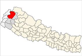 Location of Bajhang district in Nepal