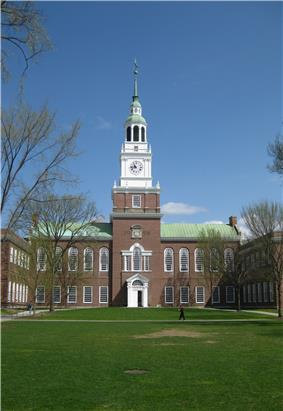 Picture of a college building with steeple.