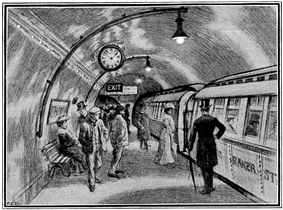 Sketch showing about a dozen people standing on an underground railway platform with a train standing at the platform. Several more people are visible inside the train, which has the words