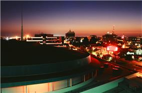 Bakersfield skyline at night with the Rabobank Arena in the foreground.