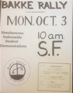 a flyer informing the public of a rally against Bakke set for October 3, 1977 in San Francisco.  There is a logo, showing tilted scales of justice and the legend,