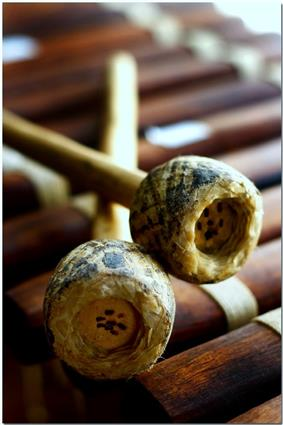 Gum-rubber mallets on a balafon.