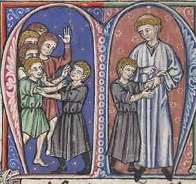 A miniature painting from a medieval manuscript, divided into two panels. On the left panel, some boys are playing and injuries can be seen on their arms. On the right panel, a man inspects the injuries on one of the boys' arms.