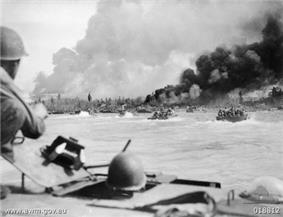 American manned Alligators during the landing of Australian troops at Balikpapan, Borneo