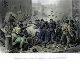 A color sketch depicting a riot in an urban setting. In the center of the scene is a small group of soldiers wearing blue uniforms and carrying muskets with fixed bayonets. The mob attacking the soldiers carries bats, pick axes and other weapons. Bricks and debris are flying in the air.