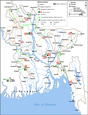 Military map of Bangladesh from October 1971