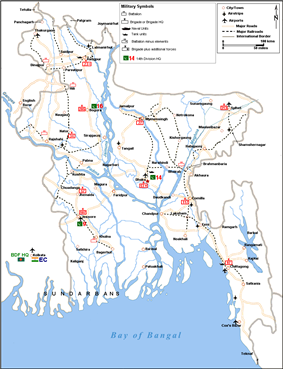 Military map of East Pakistan in May 1971