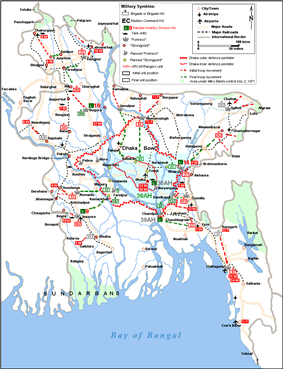 Military map of Bangladesh from November 1971