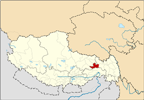 Location of Banbar County within Tibet