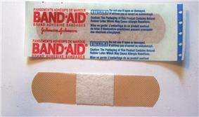A Band-Aid brand bandage