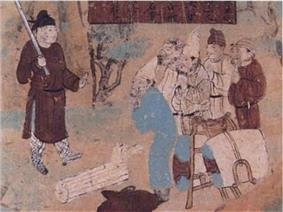 Mural in 9th century showing bandit attack