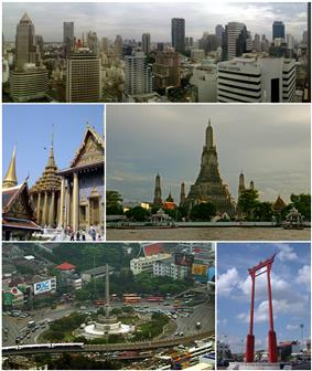 A composite image, the top row showing a skyline with several skyscrapers; the second row shows, on the left, a Thai temple complex, and on the right, a temple with a large stupa surrounded by four smaller ones on a river bank; and the third rowing showing, on the left, a monument featuring bronze figures standing around the base of an obelisk, surrounded by a large traffic circle, with an elevated rail line passing in the foreground, and on the right, a tall gate-like structure, painted in red