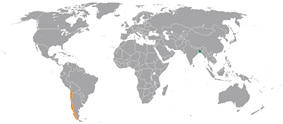 Map indicating locations of Bangladesh and Chile