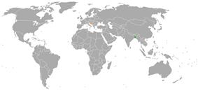 Map indicating locations of Bangladesh and Croatia