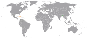 Map indicating locations of Bangladesh and Cuba