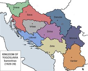 map showing the banovinas of Yugoslavia between 1929 and 1939