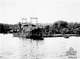 Oro Bay, New Guinea. 1943. The Dutch transport Bantam alongside the jetty during Operation Lilliput.