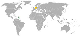 Map indicating locations of Barbados and Germany